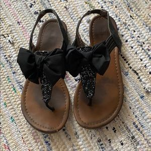Material girl black bow sandals